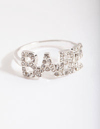 Silver Diamante Babe Ring