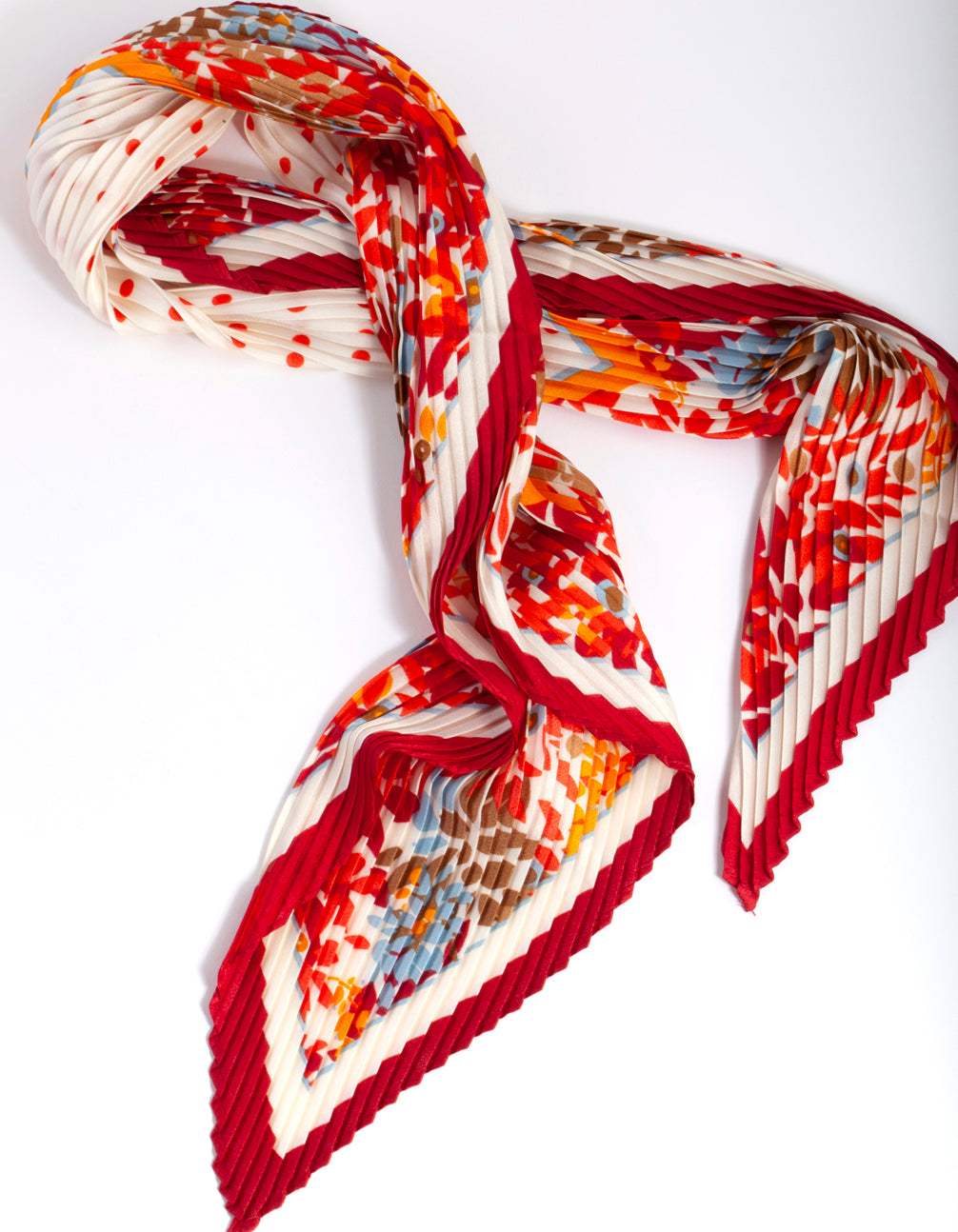 Red Pleated Fabric Scarf
