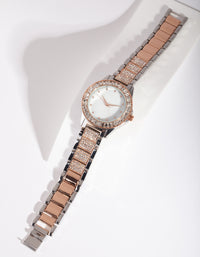 Mixed Metal Bling Watch - link has visual effect only