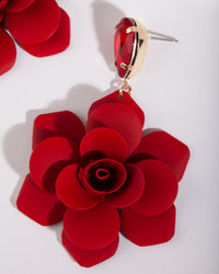 Red Coated Metal Rose Earring