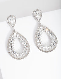 Rhodium Stone Teardrop Earring - link has visual effect only