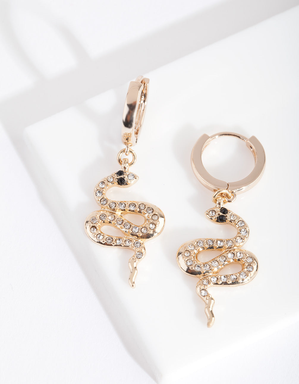 Gold Diamante Snake Huggie Earring