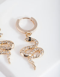 Gold Diamante Snake Huggie Earring - link has visual effect only