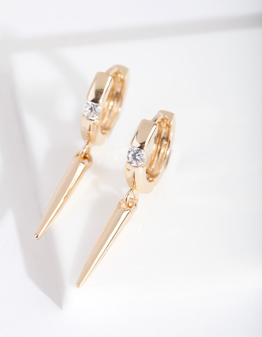 Gold Diamante Spike Huggie Earring