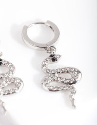 Rhodium Diamante Snake Huggie Earring - link has visual effect only