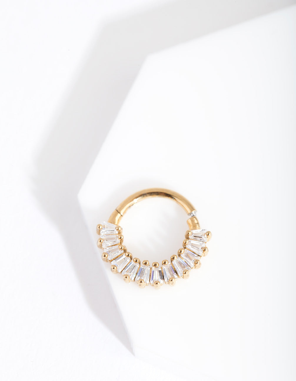 Gold Baguette Clicker Earring