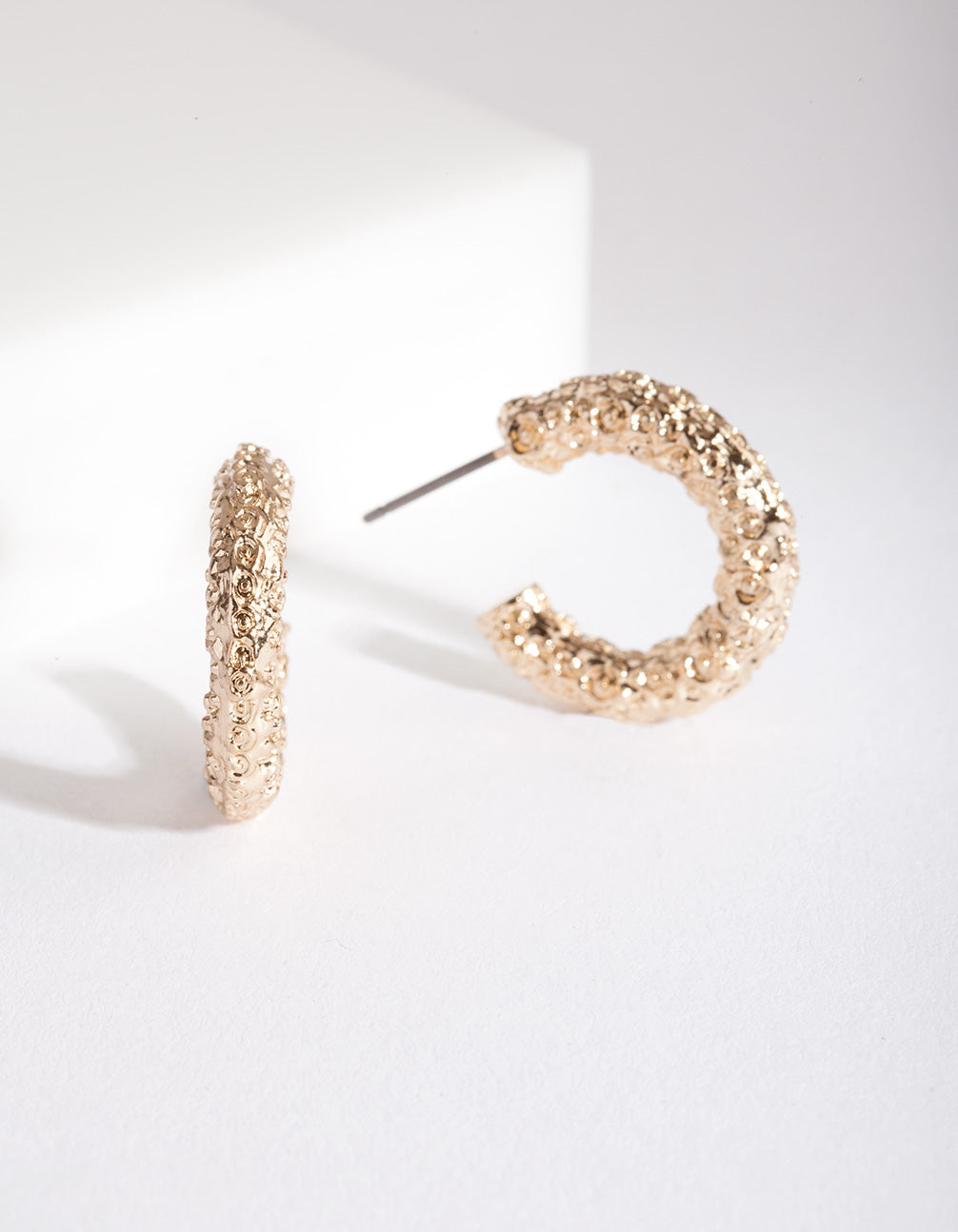 Mini Gold Textured Molten Hoop Earring