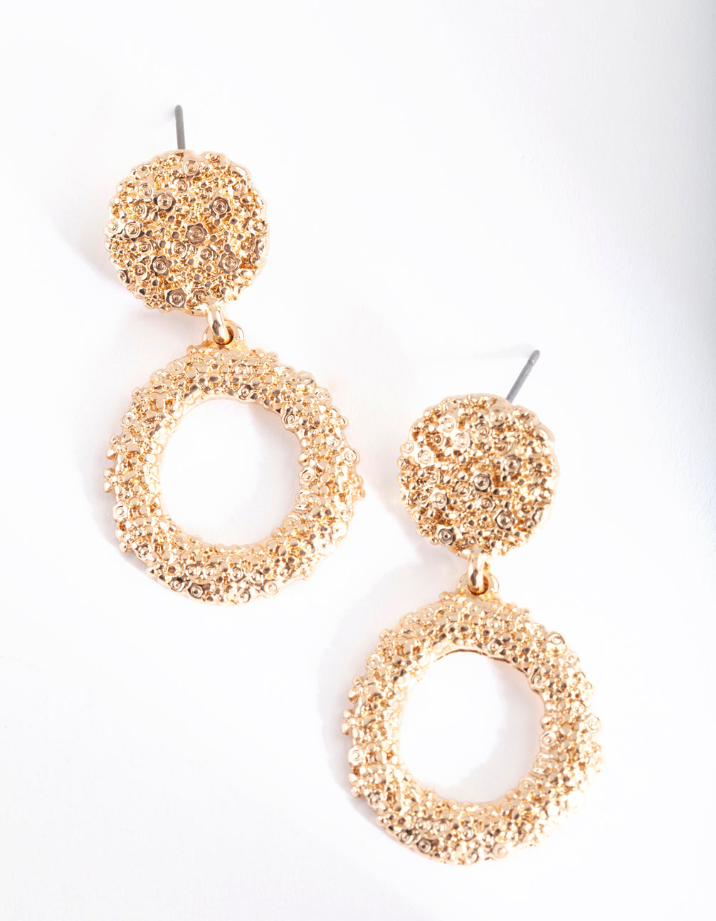 Mini Gold Textured Round Drop Earring