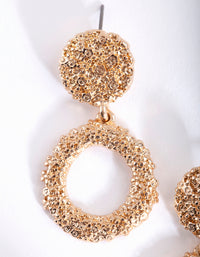 Mini Gold Textured Round Drop Earring - link has visual effect only