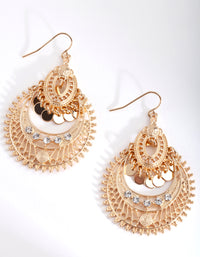 Mini Gold Diamante Disc Bohemian Earrings - link has visual effect only