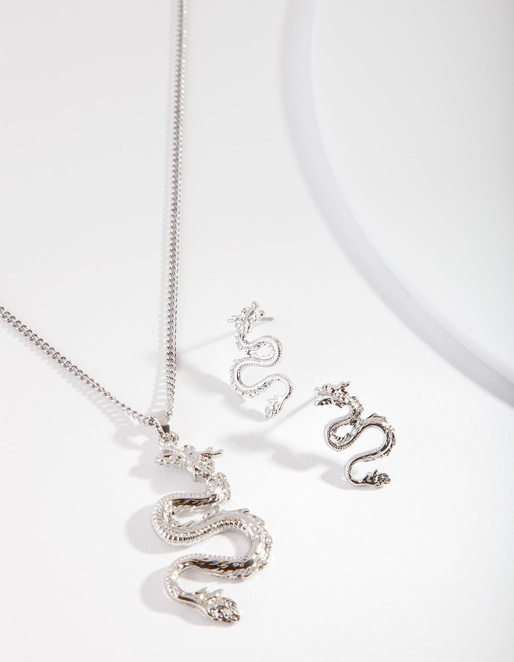 Silver Dragon Necklace Earring Set