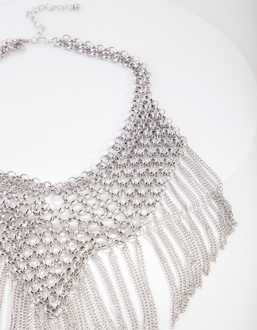 Silver Statement Fringe Necklace