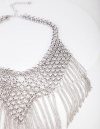 Silver Statement Fringe Necklace - link has visual effect only