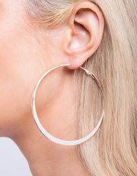 Large Rose Gold Glitter Edge Hoop Earring - link has visual effect only