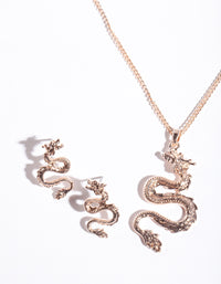 Rose Gold Dragon Earring Necklace Set - link has visual effect only