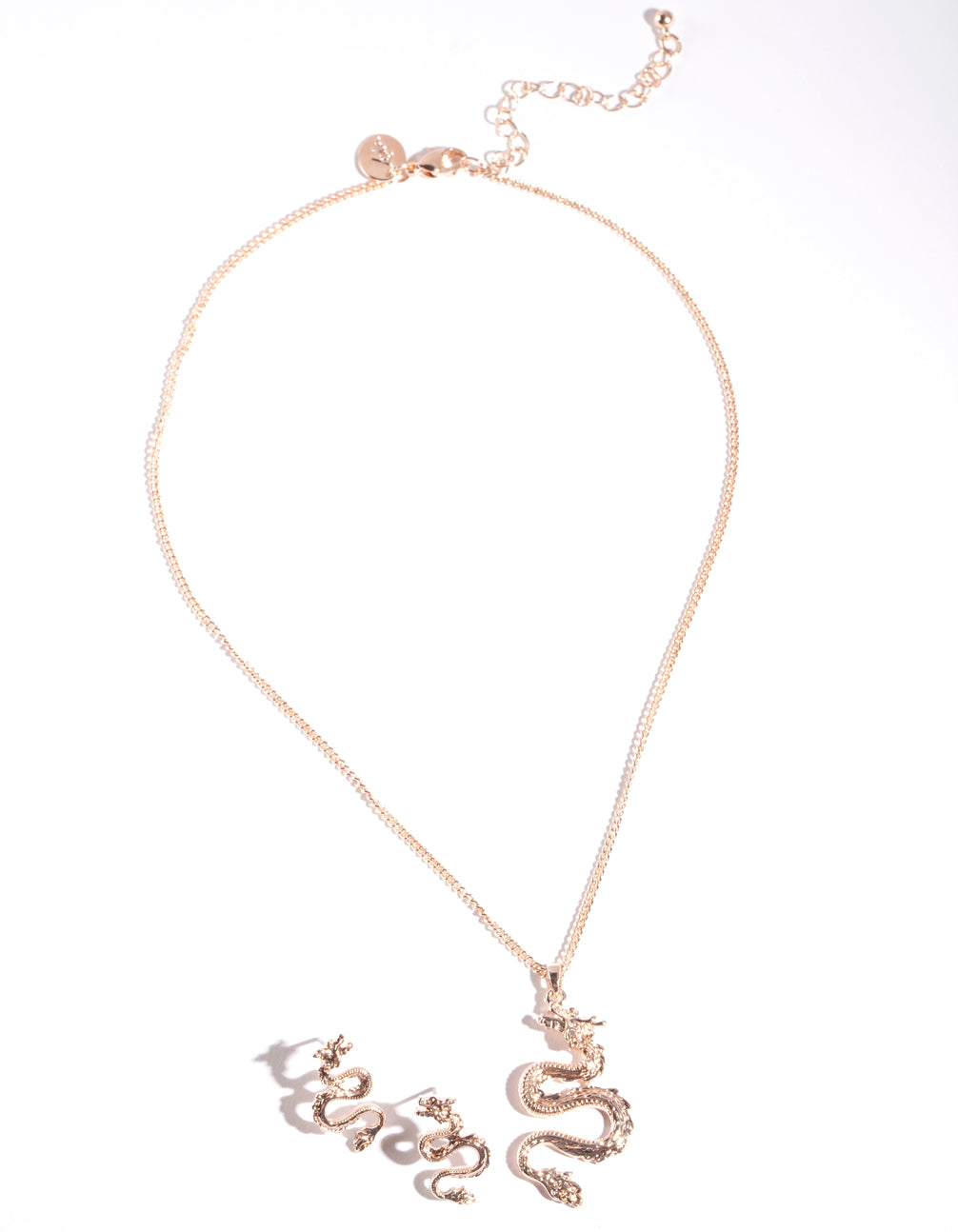 Rose Gold Dragon Earring Necklace Set
