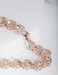 Rose Gold Heart Link Diamante Bracelet - link has visual effect only