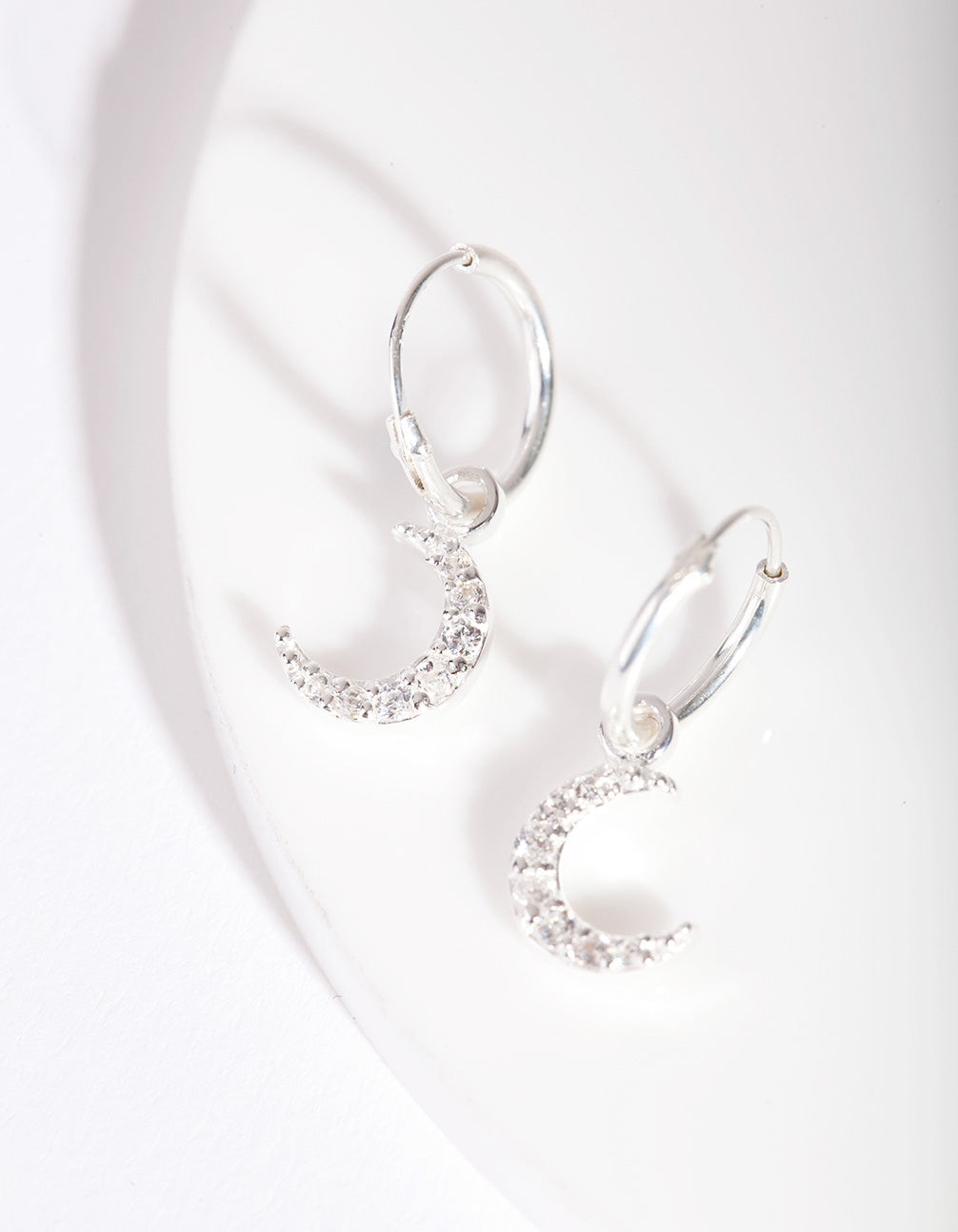 Sterling Silver Diamante Moon Charm Hoop Earring