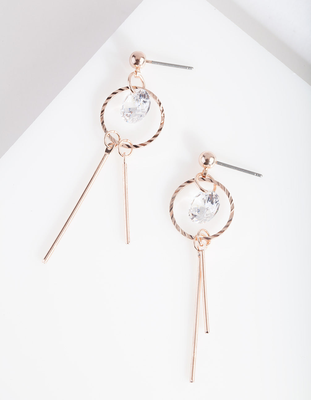 Rose Gold Cubic Zirconia Stick Earring