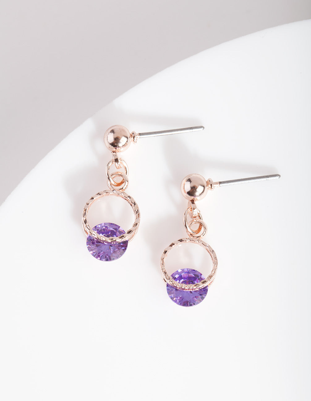 Rose Gold Purple Floating Crystal Earring