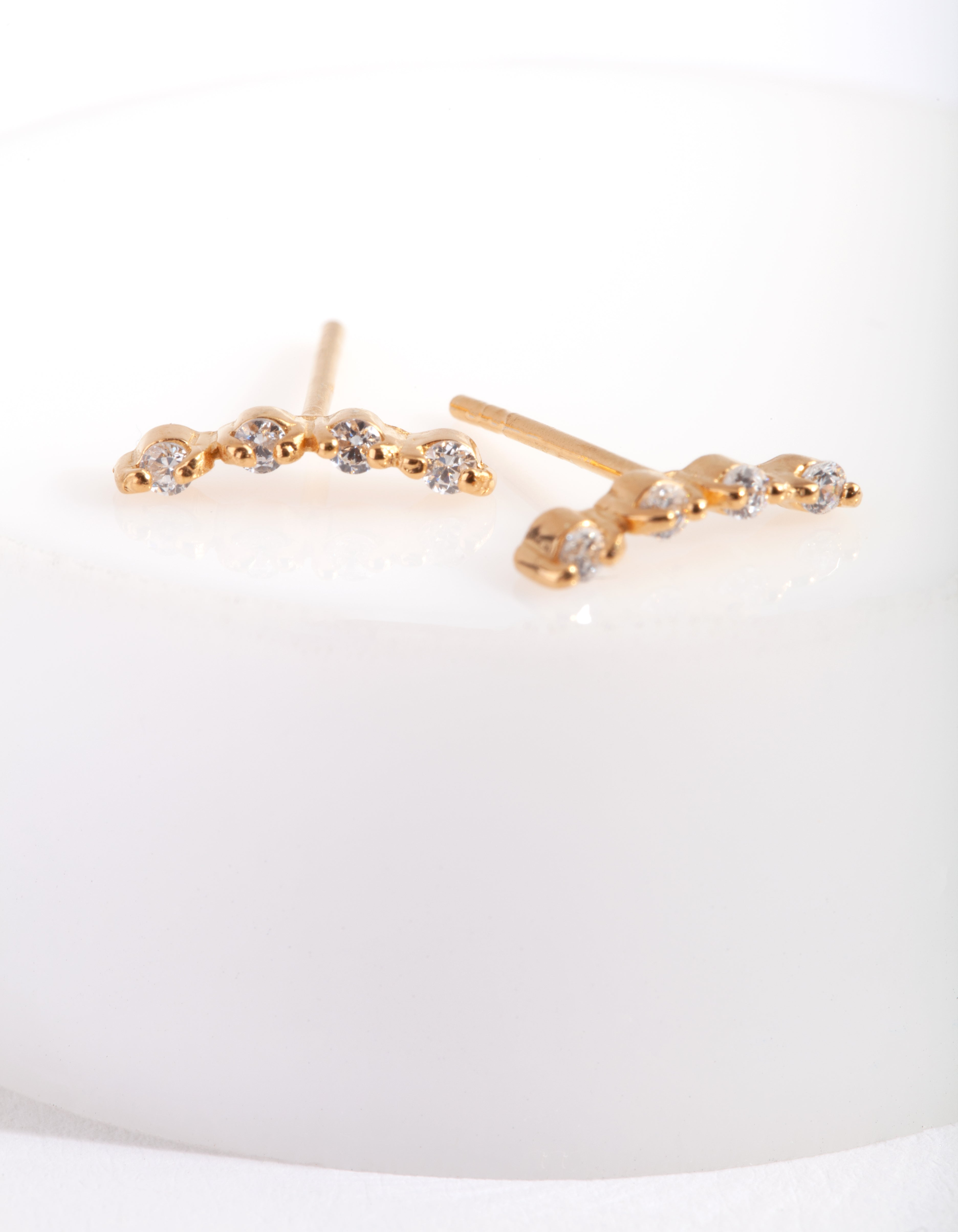 Gold Plated Sterling Silver 4 Diamante Crawler Earring