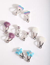 Kids Multicoloured Mermaid Clip On Earring 5 Pack - link has visual effect only