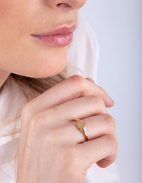 Gold Plated Sterling Silver Heart Signet Ring - link has visual effect only