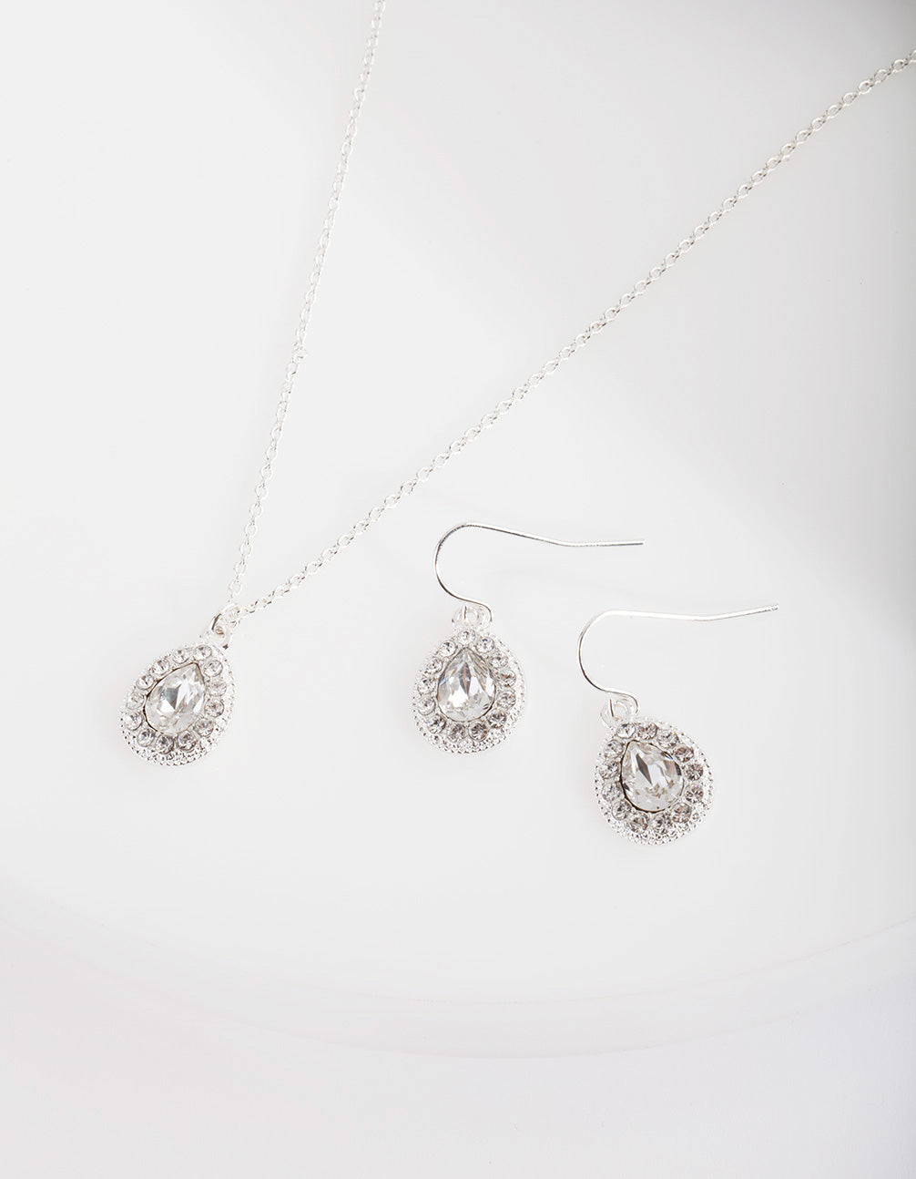 Swarovski Diamante Teardrop Earring Necklace Set