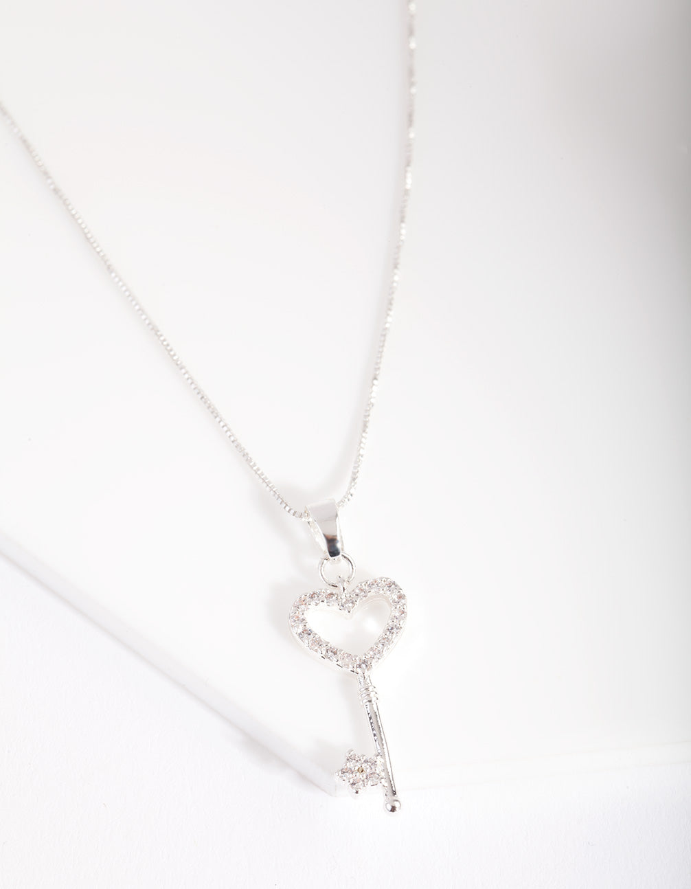 Silver Cubic Zirconia Little Love Lock Necklace