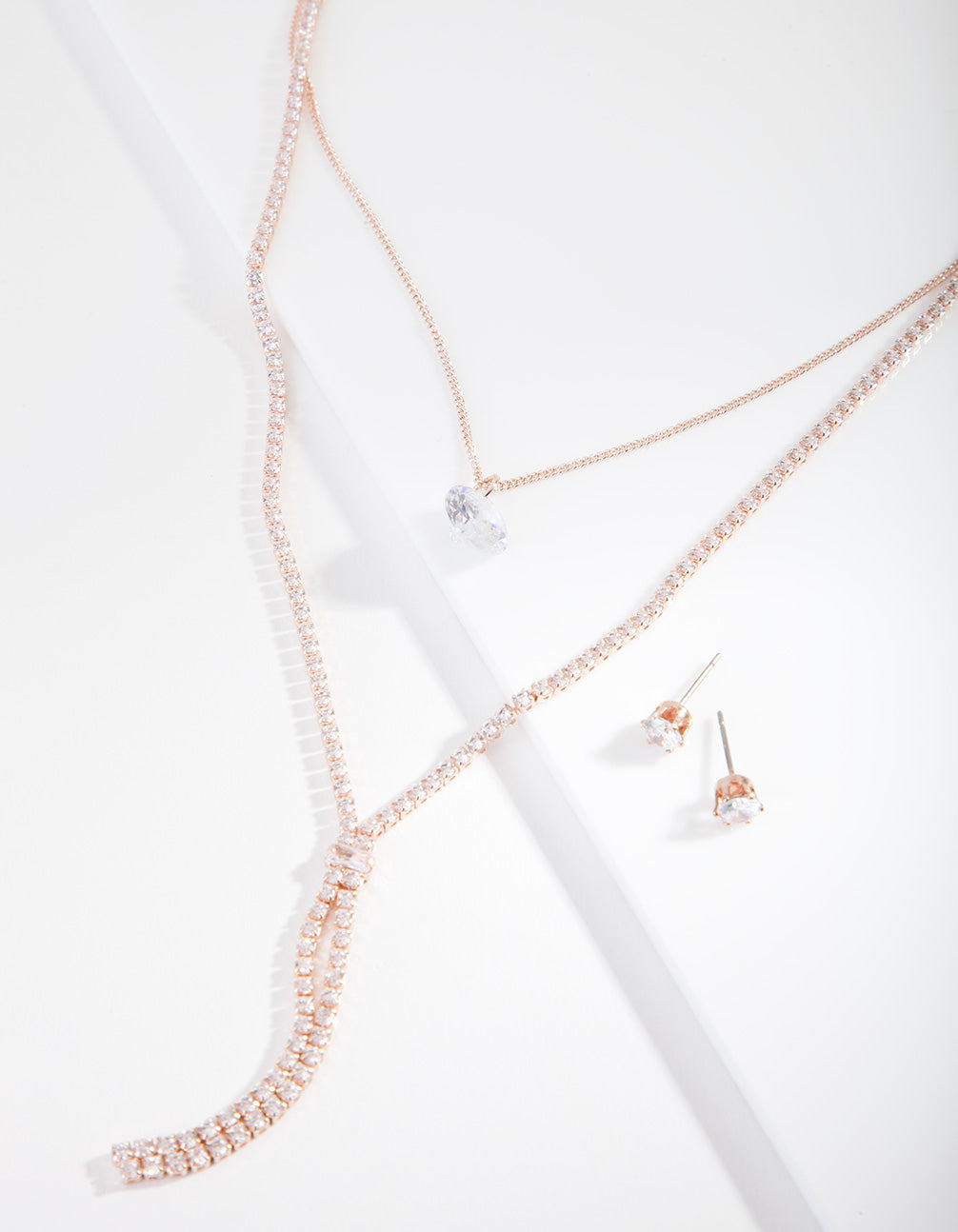 Rose Gold Cubic Zirconia Layer Jewellery Set