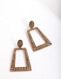 Antique Gold Ball Detail Trapeze Earring - link has visual effect only