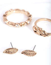 Antique Gold Textured Leaf Earring Ring Pack - link has visual effect only