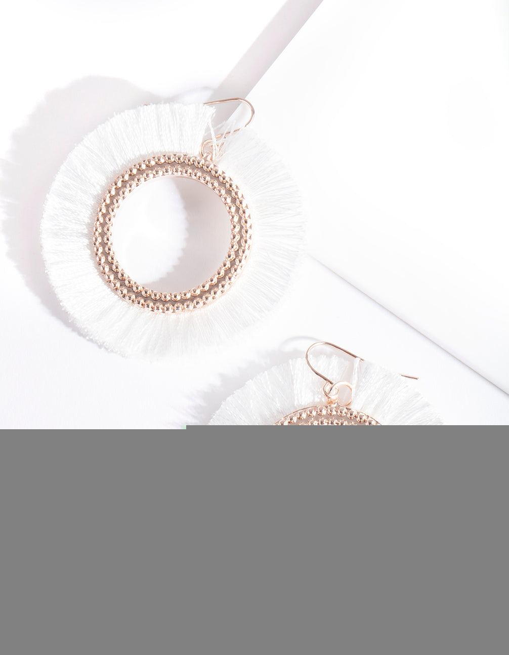 White Circle Tassel Earring