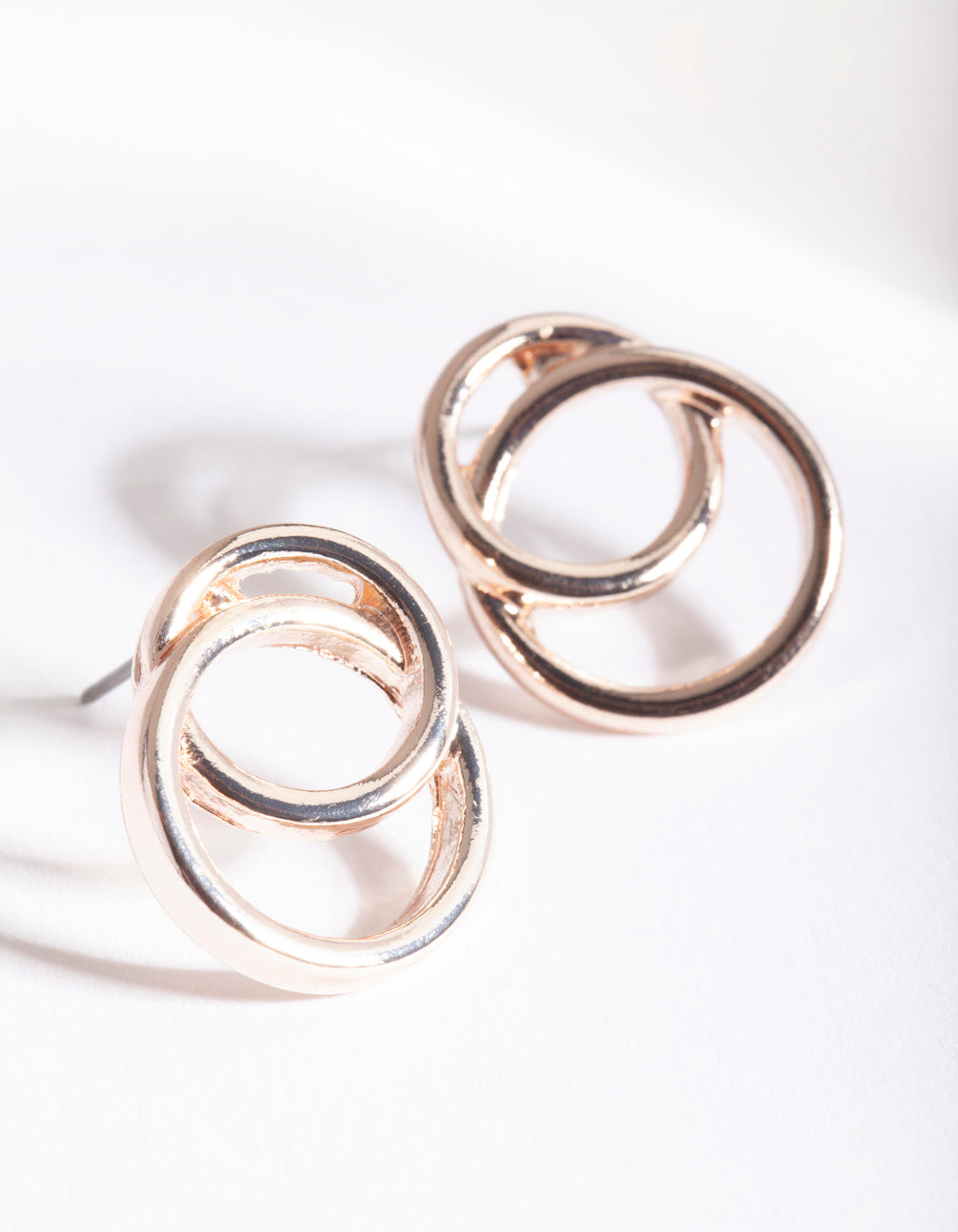 Rose Gold Double Circle Link Earring