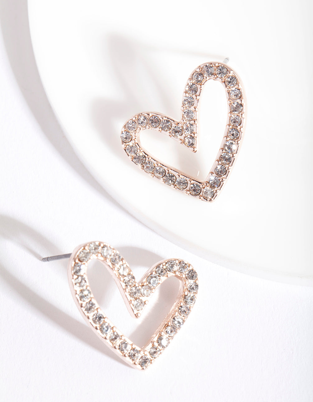 Rose Gold Diamante Heart Earring
