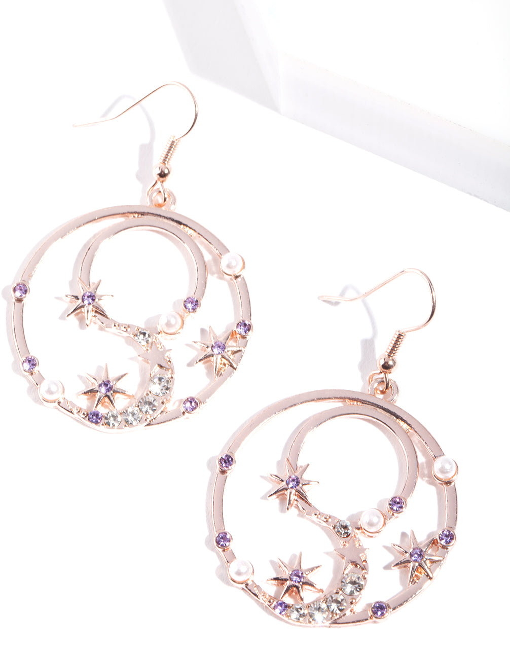 Rose Gold Celestial Diamante Circle Earring