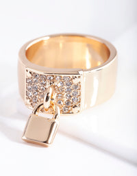Gold Chunky Padlock Diamante Ring - link has visual effect only