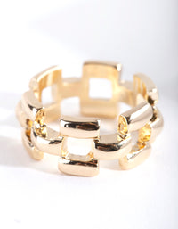 Gold Woven Chain Ring - link has visual effect only