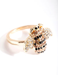 Gold Diamante Bumblebee Ring - link has visual effect only