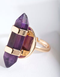 Gold Amethyst Plate Ring - link has visual effect only