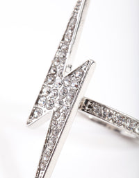 Rhodium Diamante Lightning Bolt Ring - link has visual effect only
