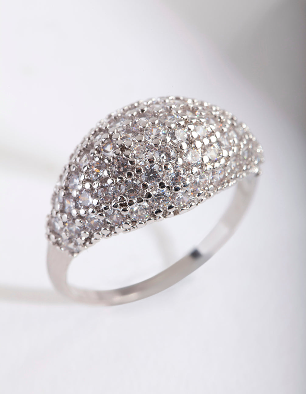 Silver Cubic Zirconia Pave Dome Ring