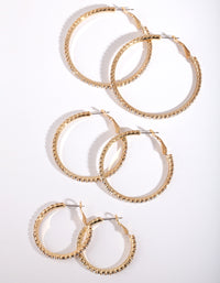 Mixed Size Gold Diamante Hoop 3 Pack - link has visual effect only