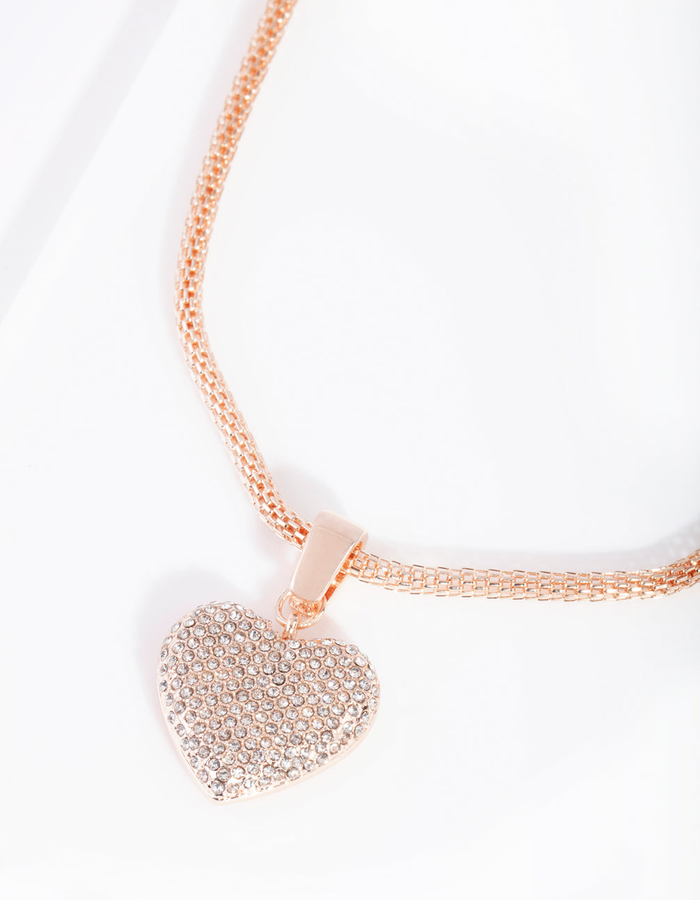 Rose Gold Mesh Diamante Heart Pendant Necklace