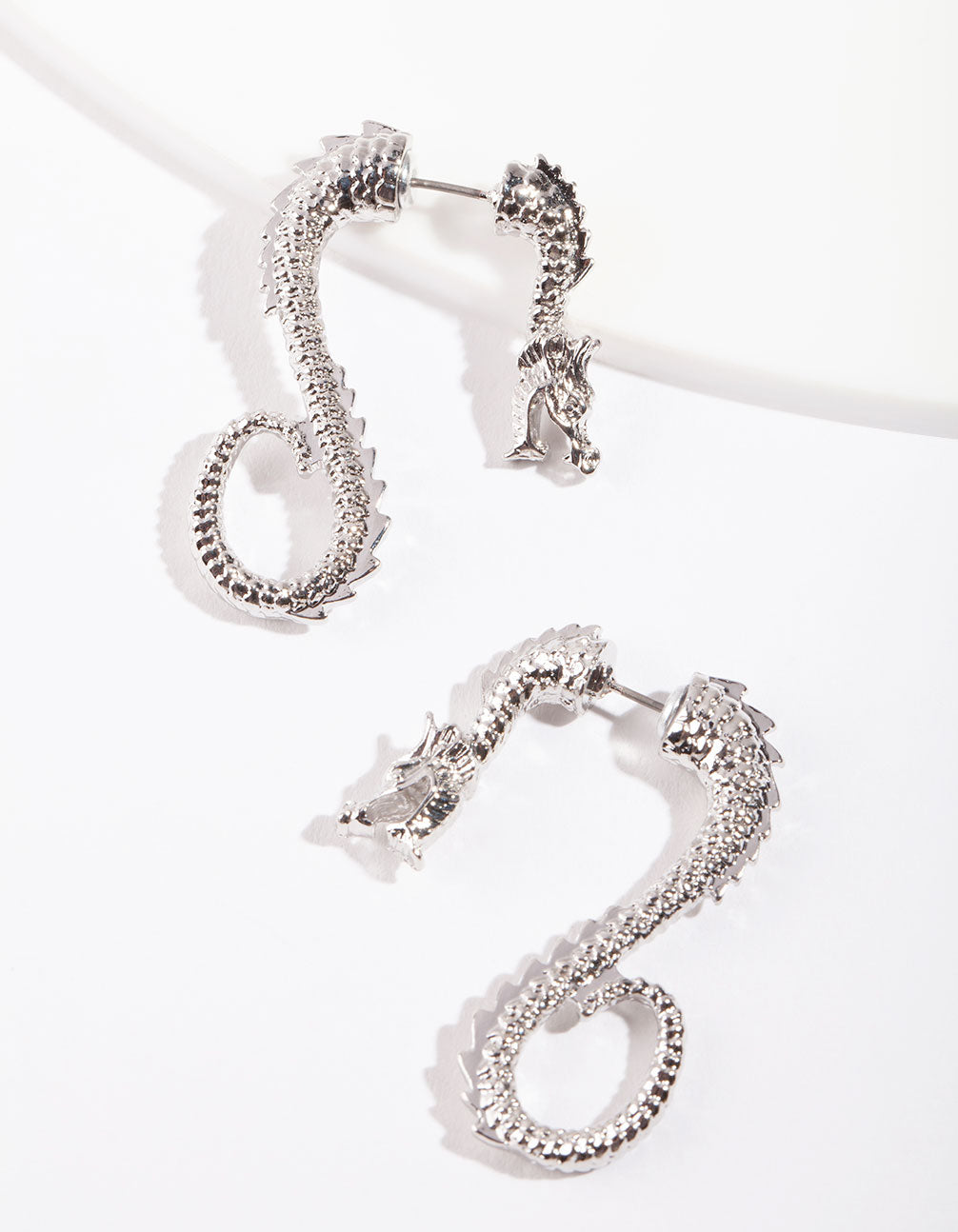 Silver Dragon Hoop Earring