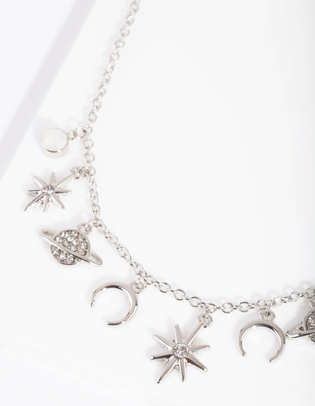 Rhodium Celestial Charm Necklace