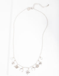 Rhodium Celestial Charm Necklace - link has visual effect only