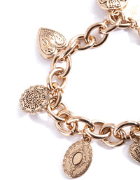 Antique Gold Charm Detail Chain Bracelet - link has visual effect only