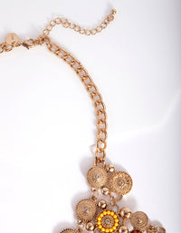Antique Gold Bohemian Disc Statement Necklace - link has visual effect only