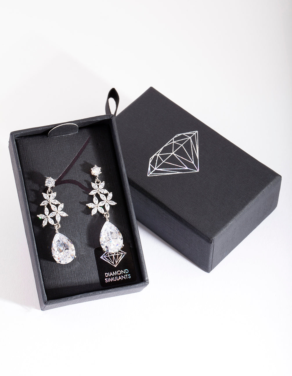 Diamond Simulant Flower Teardrop Earring